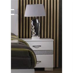 Everly Quinn Ahlrich II Nightstand In White High Gloss in Black/White/Yellow, Size 23.0 H x 23.0 W x 15.0 D in   Wayfair