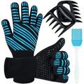wisdomfurnitureco BBQ Gloves, Heat Resistant Grill Gloves 1472℉ Cooking Oven Gloves Silicone Non-Slip Insulated Gloves Kitchen Oven Mitts For Baking