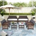 Bay Isle Home™ 8 Pieces Outdoor Furniture Rattan Chair & Table Patio Set Outdoor Sofa For Garden, Backyard, Porch & Poolside Wicker/Rattan in Brown