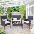 Red Barrel Studio® 4 Pc Outdoor Garden Rattan Patio Furniture Set Cushioned Seat Wicker Sofa (brown) Wicker/Rattan in Brown/Green   Wayfair
