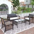 Bay Isle Home™ 4 Pieces Outdoor Furniture Rattan Chair & Table Patio Set Outdoor Sofa For Garden, Backyard, Porch & Poolside, Gray Wicker/Rattan