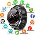 Montre connectée Bluetooth pour hommes, étanche IP68, bracelet en acier, pour Samsung Huawei,