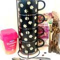 Anthropologie Kitchen | Ceramic Black Daisy Mug Standing Set | Color: Black/White | Size: 2.9 In. H 3.8 In. W