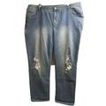 Lane Bryant Distress Denim Straight Relaxed Jeans Plus 24 Stretch High Waist