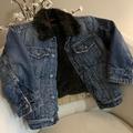 Gap Kids Distressed Faux Fur Color Denim Jacket Small Boys