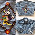 Vintage 90's The Disney Store Minnie Mouse Embroidered Denim Jean Jacket Mickey