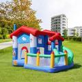 Fascinating Furniture Inflatable Bounce House w/ Air Blower Inflatable Castle w/ Jumping Slide, Inflatable Bouncer Playhouse Slides For in Blue