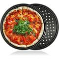 JingJiuTrade 2 Pcs Pizza Pan w/ Holes,12 Inch Bakeware Pizza Dish For Oven,Premium Nonstick Carbon Steel Pizza Tray For Home Baking,Kitchen,Cookies