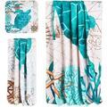 Rosecliff Heights 3Pcs Sea Turtle Bath Towels Set Include Bath Towel, Hand Towel & Wash Towel, Decorative Turtle Beach Towel Set For Bathroom in Blue