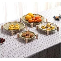 Bayou Breeze Handmade Bamboo Small Bamboo Baskets w/ Wooden Shelves, Storage Baskets, Snack Baskets, Vegetables/Fruits, Bread | Wayfair