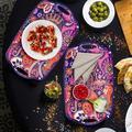 Dakota Fields Serving Tray w/ Handles, Large Rectangle Melamine Serving Platter in Indigo, Size 12.0 W x 19.0 D in | Wayfair