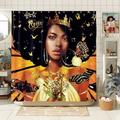 East Urban Home Black Girl Shower Curtain 3D Black Women Shower Curtain Black Art Shower Curtain African Black Queen Polyester Waterproof Shower Curtain 72X72 Inches