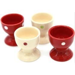 Red Barrel Studio® Ceramic Polka Dot Egg Cups Porcelain Egg Holders Gifts For Kitchen in Red/White, Size 2.0 W in | Wayfair