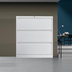 Inbox Zero 3 Drawers Horizontal File Cabinet w/ Lock, Metal Stainless Steel Wide Horizontal File Cabinet, Office Storage Cabinet in White   Wayfair