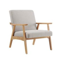 George Oliver Wooden Mid-Century Modern Accent Chairs Linen/Linen Blend in White/Brown, Size 33.0 H x 23.6 W x 19.7 D in | Wayfair
