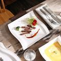 fedigorlocn Square Dinner Plates, 10.25-Inch Porcelain White Plates Dinner Sets, Serving Plates Set For Dessert Salad Pasta & Dishes, Set Of 6
