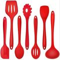 GoodDogHousehold Heat-Resistant Cooking Utensil Kitchen Spatula For Nonstick Cookware Cooking Serving, Slotted Turner, Soup Ladle, Spatula in Red