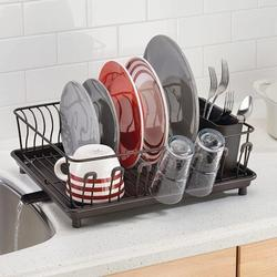 Old Hong Trading Large Metal Kitchen Countertop, Sink Dish Drying Rack - Removable Plastic Cutlery Tray, Drainboard w/ Adjustable Swivel Spout