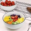 zhong_hua Large Salad Bowls, Porcelain Soup Bowls Stackable Round Soup Serving Bowl Cereal Bowls For Soup, Salad, Oatmeal Salad Bowl Set Of 4