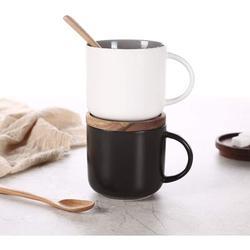 Old Hong Trading Ceramic Coffee Mug Set Of 2,Coffee Mugs Ceramic Coffee Cup w/ Wood Lid,Tea & Milk Ceramic Cup,Black & White Ceramic Mugs, 14.3Floz