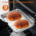 SpicyMedia Toaster Oven Tray & Rack Set, Our Small Stainless Steel Toaster Oven Pan w/ Rack,9 X 7 X 1 Inch,Dishwasher Safe Oven Pan, Anti-Rust