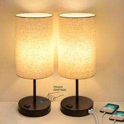 Latitude Run® Set Of 2 Touch Control 3-Way Dimmable Table Lamp w/ 2 USB Ports Modern Nightstand Lamp w/ AC Outlet Bedside Lamps w/ Fabric Shade Desk Lamp For