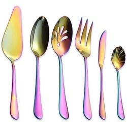 Mercer41 Stainless Steel Colorful Titanium Plated Flatware Serving Set 6 Pieces, 5 Serving Pieces Of 45 Pieces Flatware w/ 1 Cake Server | Wayfair
