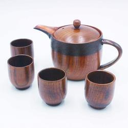 Red Barrel Studio® Wooden Duckbilled Teapot Tea Kettles Set w/ 4 Cups (8X9)-Sake Cups in Brown, Size 1.88 H in | Wayfair