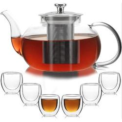 Prep & Savour Glass Teapot w/ Removable Stainless Steel Infuser, Glass Tea Pot Set w/ 6 Double Wall Cups, Tea Kettle For Blooming, Size 4.8 H in