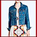 Free People Jackets & Coats | Free People Denim Jacket W Blue Lace Inset Panels | Color: Blue | Size: Xs