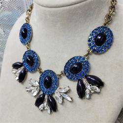 J. Crew Jewelry | J Crew Necklace Marquise Shape Blue Black Necklace | Color: Black/Blue | Size: 16 W 3 Extender