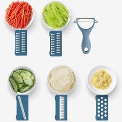 SSHAOSS Mandoline Slicer Vegetable Slicer Cutter & Grater 7 In 1 Vegetable Cutter Potato Slicer Vegetable Shredder Garlic Mincer in Blue/Yellow