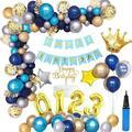 APERIL Balloon Kit Navy Blue Gold Theme Crown PartyAluminum Foil Balloon Set Happy Birthday Party Decoration Reusable Party Needs in Blue/Gray/Yellow