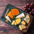 koent Wood & Marble Rectangular Cutting Board w/ Cutout Handle - Acacia Wood & Green Marble Charcuterie Board Party Plate Tray For Serving Cheese