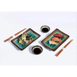 zhong_hua 6 Piece Sushi Dinner Set Rectangular Sushi Plate Sauce Dish & Chopsticks Sushi Dinner Set For Two (Turquoise) in Blue/Green | Wayfair