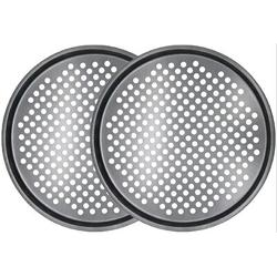 qizhongtrade 2Pcs-13Inch Pizza Pans w/ Holes Carbon Steel Nonstick Baking Pan Round Pizza Pan Pizza Tray,Bakeware Perforated Round For Home Kitchen