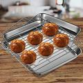 SpicyMedia Toaster Oven Tray & Rack Set, Our Small Stainless Steel Toaster Oven Pan w/ Rack,10.4 X 7.9 X 1 Inch,Dishwasher Safe Oven Pan, Anti-Rust