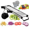 tarye Mandoline Slicer w/ Protective Gloves, Slicer Julienne For Cheese Carrot Potato Onion French Fry in Black, Size 15.76 H x 6.69 W x 1.18 D in