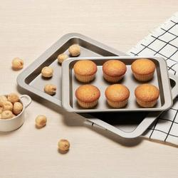 GoodDogHousehold Nonstick Cookie Sheet Baking Pan 2Pc Large & Small Metal Oven Baking Tray, Size 0.78 H x 9.0 D in   Wayfair 6747DE07VWRZ4H9