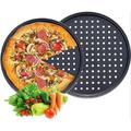 lameishuju Pizza Pans w/ Holes, Round Pizza Baking Tray, 2 Pack Perforated Pizza Crisper Pan w/ Non-Stick Coating in Black | Wayfair
