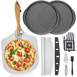 "qizhongtrade 7PCS Foldable Pizza Peel Pizza Pan Set,12"" X 14"" Aluminum Metal Pizza Paddle w/ Wooden Handle, Rocker Cutter, Server Set in Black"