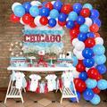 specool Blue Red White Latex Balloon Birthday Party Decoration Kit 100 Balloon Arches Set w/ 16-Foot Balloon Strip Tape Kit 2 Birthday Superhero Theme Party