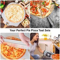 "SpicyMedia 7PCS Foldable Pizza Peel Pizza Pan Set,12"" X 14"" Aluminum Metal Pizza Paddle w/ Wooden Handle, Rocker Cutter, Server Set in Black Wayfair"