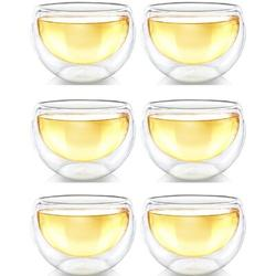 GoodDogHousehold Double Wall Glass Tea Cups, Glass Tea Cups Set Of 6, Glass Coffee Cup, Glass Tea Cups For Tea Or Coffee, Size 2.2 H x 7.2 W in
