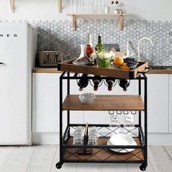 GoodDogHousehold Kitchen Cart,Kitchen Bar&Serving Cart Rolling Utility Storage Cart w/ 3-Tier Shelves,Metal Wine Rack Storage & Glass Bottle Holder