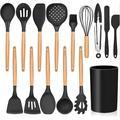 lameishuju 15-Piece Kitchen Silicone Cooking Utensils Set w/ Holder in Black | Wayfair 07ZFQ608BN4GG5P-01