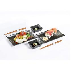 zhong_hua 6 Piece Sushi Dinner Set Rectangular Sushi Plate Sauce Dish & Chopsticks Sushi Dinner Set For Two ( Spray) in Black | Wayfair