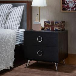 Ivy Bronx Franny Nightstand Table Black Nightstand Table Wood in Black/Brown, Size 20.0 H x 20.0 W x 17.0 D in   Wayfair