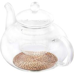 ZWISSLIV 1000ML Glass Teapot w/ Removable Infuser Clear Teapot & Bamboo Rattan Coasters For Pot Heat Resistance For Afternoon Tea Blooming Tea Maker