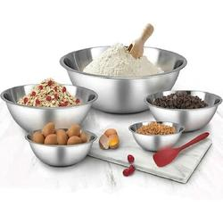 Battle Cow Stainless Steel Mixing Bowls Set Of 5 -Salad Bowl w/ Scale -Space Saving -Easy To Clean Nesting Bowls, For The Kitchen Restaurant Stainless Steel
